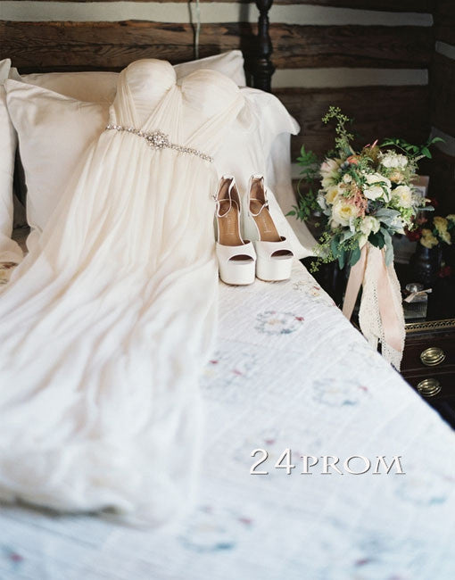 White A-line Long Wedding Dresses, Formal Dress