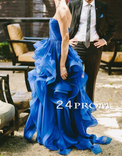 Blue Organza Ruffled Long Prom Gown, Evening Dresses, Blue Wedding Dress