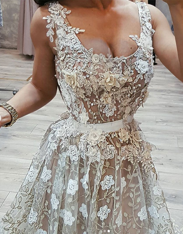 Unique lace long prom dress, lace wedding dress