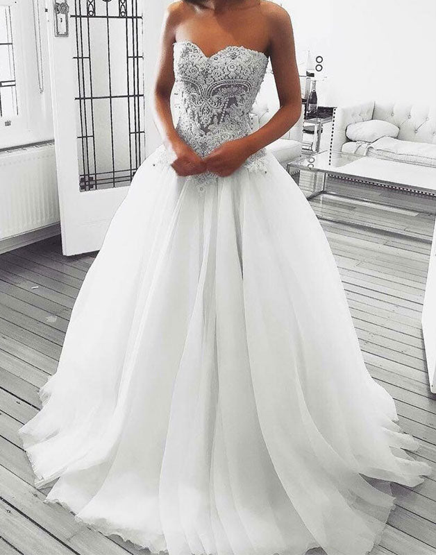 White sweetheart neck tulle lace long wedding dress, tulle prom dress