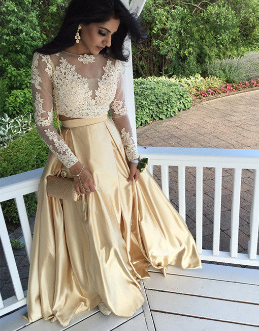 Two pieces lace long prom dress, gold evening dress