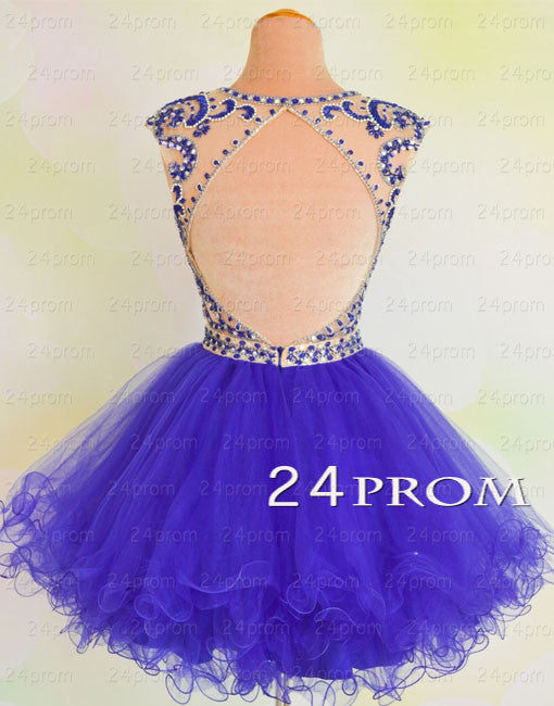Purple beaded round Neck Short Prom Dresses, Homecoming Dress