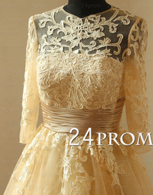 Vintage champagne tea length lace prom dress, lace wedding dress with mid sleeves