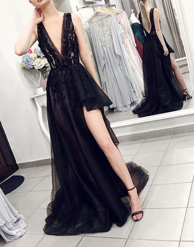 Black v neck tulle lace long prom dress, black tulle evening dress