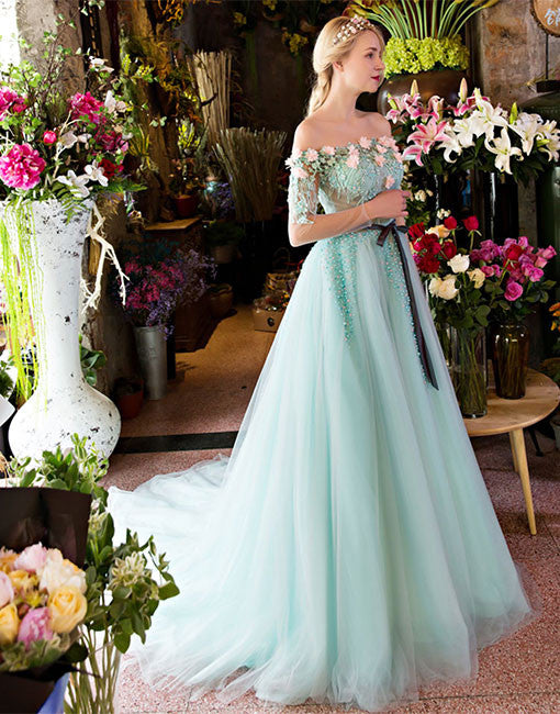Unique A-line lace tulle green long prom dress, green evening dress