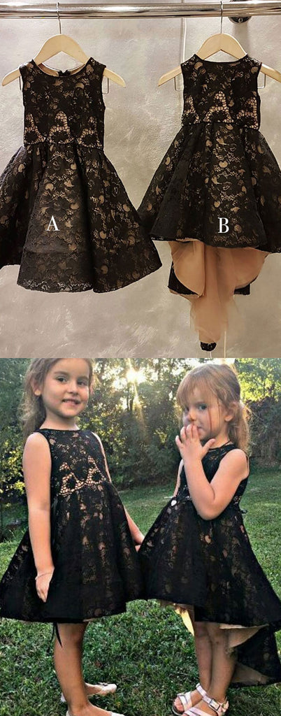 Black lace short flower girl dresses, baby dress