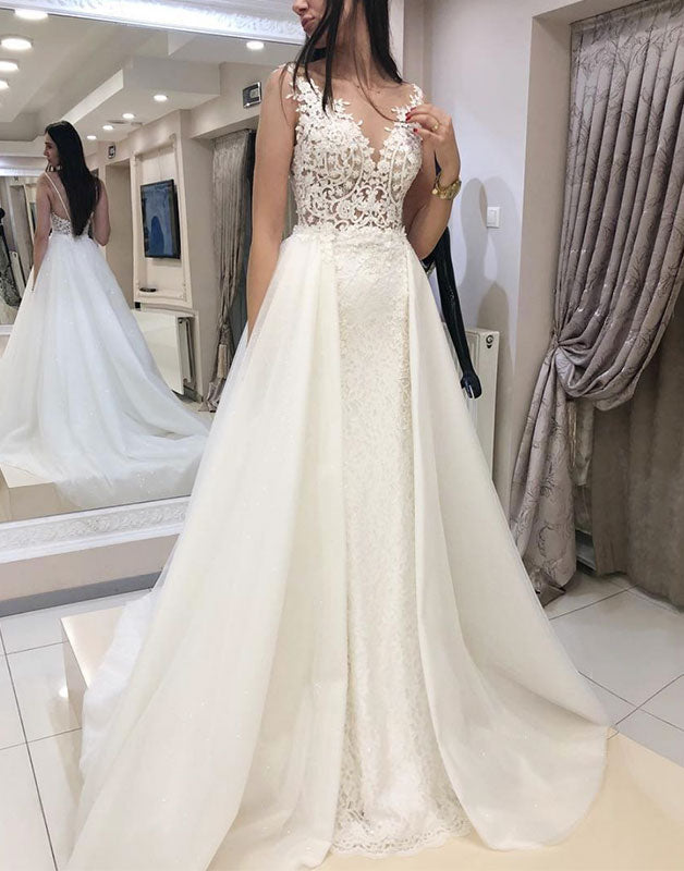 White v neck lace satin long prom dress, white lace wedding dress