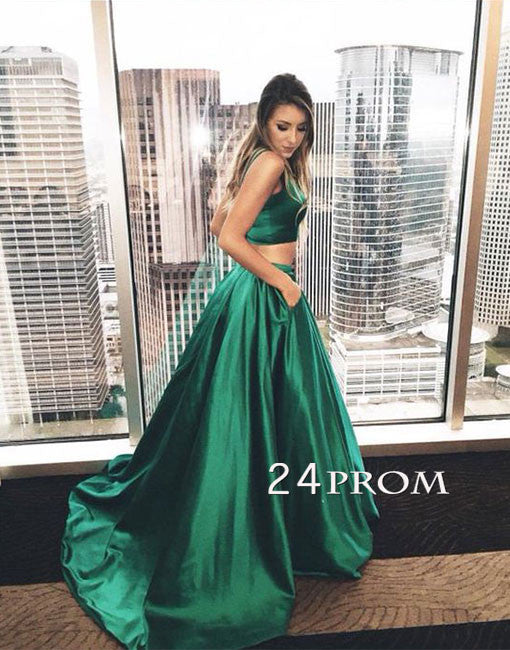 Green satin two pieces long prom dress, green evening dress