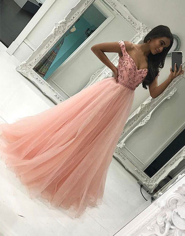 Pink off shoulder tulle long prom dress, pink evening dress