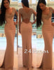 V neck chiffon mermaid beaded long prom dress, evening dress
