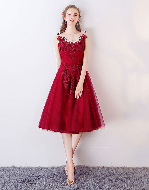 98caac38735 Burgundy round neck tulle lace applique prom dress