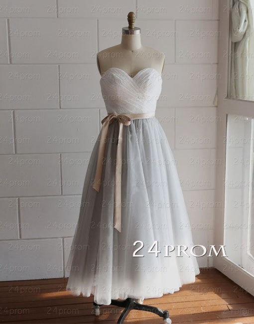 Sweetheart A-line Tulle Lace Tea-length Prom Dress, Bridesmaid Dress