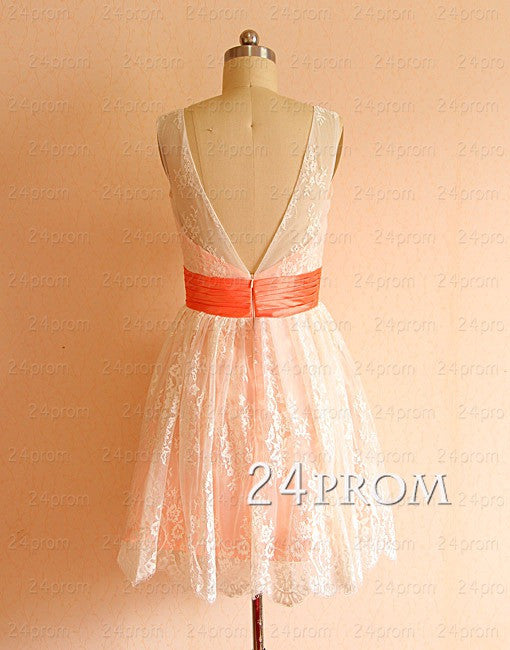 A-line V neckline Lace Short Prom Dresses, Homecoming Dresses