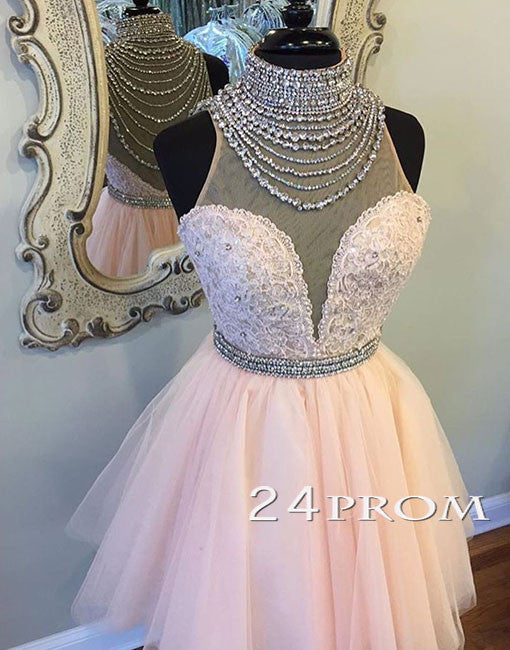 Pink high neck sequin tulle short prom dress, pink homecoming dress