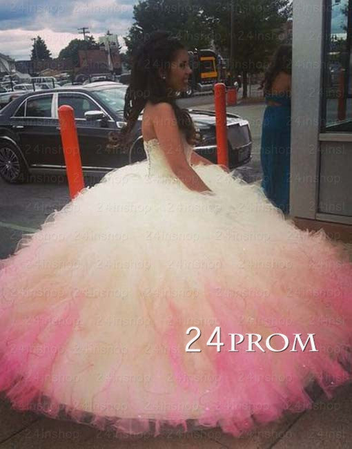 Sweetheart Ball Gown White/Pink Long Prom Gown,Sweet 16 Dress