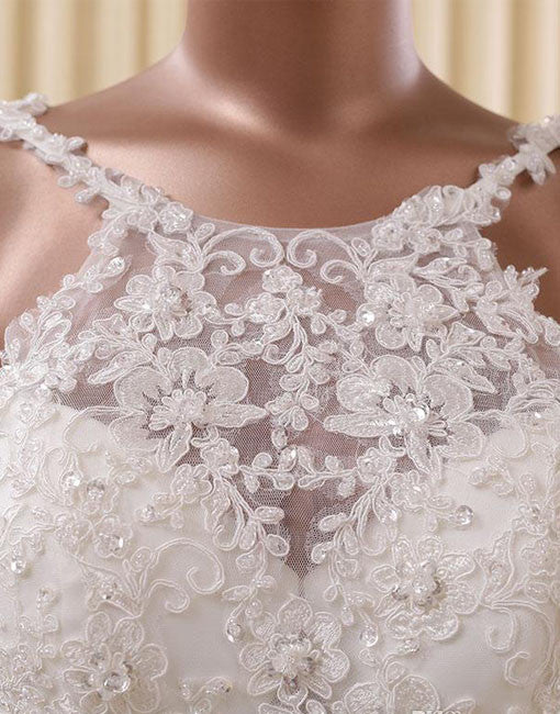 White Round neck lace Prom Dress, wedding dress