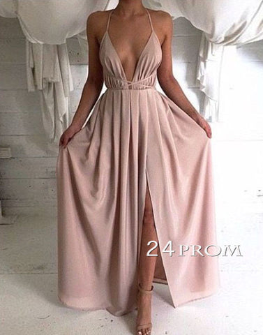 A-line Backless Long Prom Dress, Evening Dress