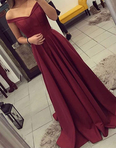 Burgundy off shoulder long prom dress, burgundy evening dress