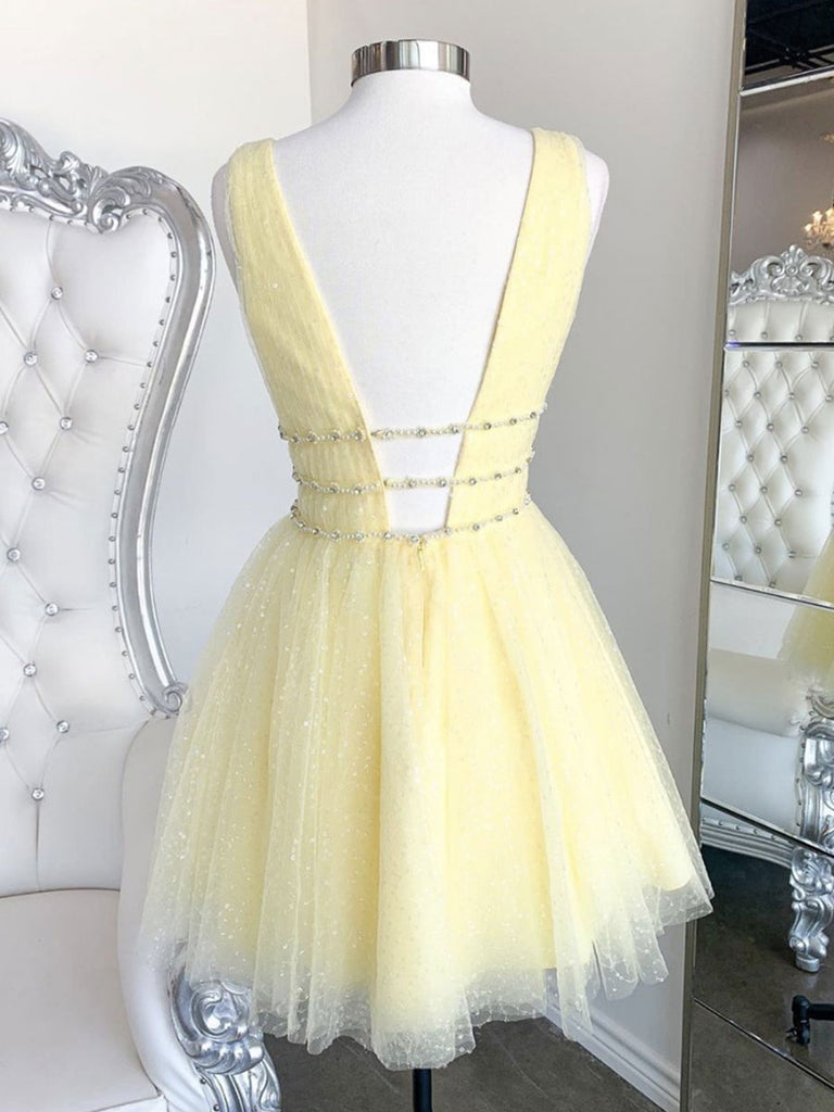 Yellow v neck tulle short prom dress yellow cocktail dress