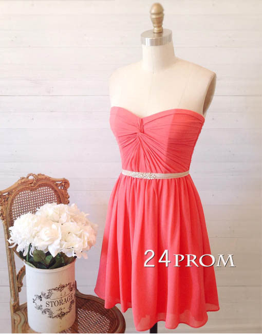 Simple sweetheart neck coral short prom dress, bridesmaid dress