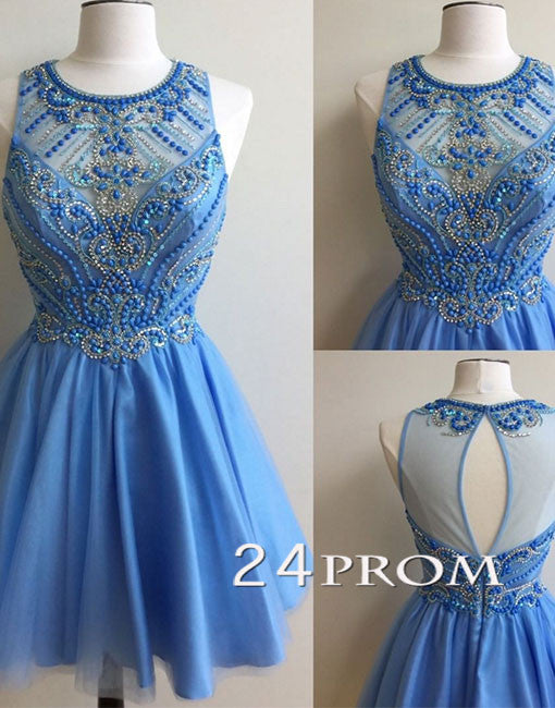 Blue round neck bead short prom dress, cute homecoming dress.