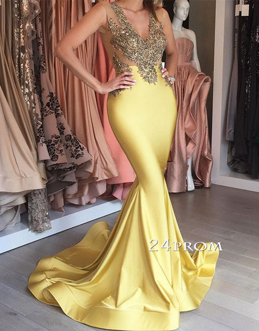 Yellow v neck lace mermaid long prom dress, yellow formal dress