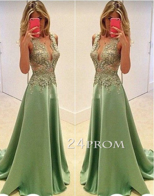 A-line v neck lace green satin long prom dress, evening dress