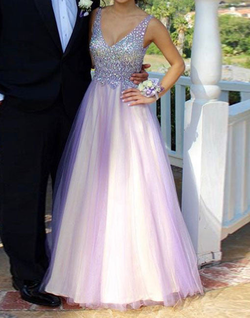 Purple v neck rhinestone tulle long prom dress, evening dress