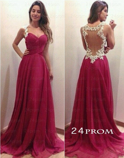 Custom Made A-line Sweetheart Red Chiffon Long Prom Dresses, Evening Dresses