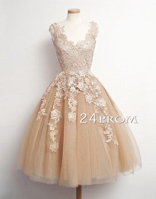 Champagne Retro Tulle Lace Short Prom Dresses, Formal Dresses