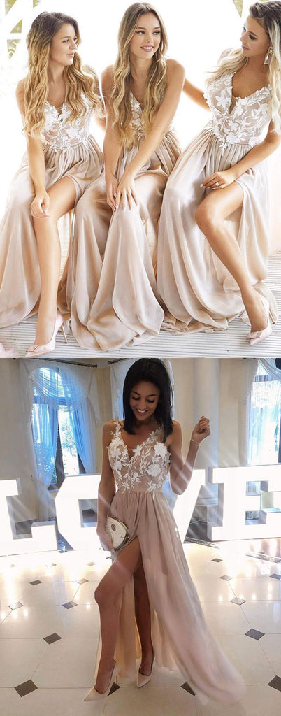 Champagne v neck lace applique long prom dress, champagne bridesmaid dress