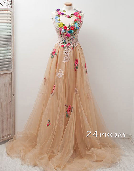 Champagne round neck tulle applique long prom dress, evening dress