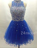 Blue tulle sequin rhinestone short prom dress, homecoming dress