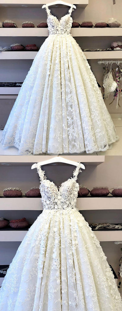 White sweetheart neck lace long prom dress, white lace wedding dress