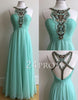 Green A-line chiffon bead long prom dress, evening dress