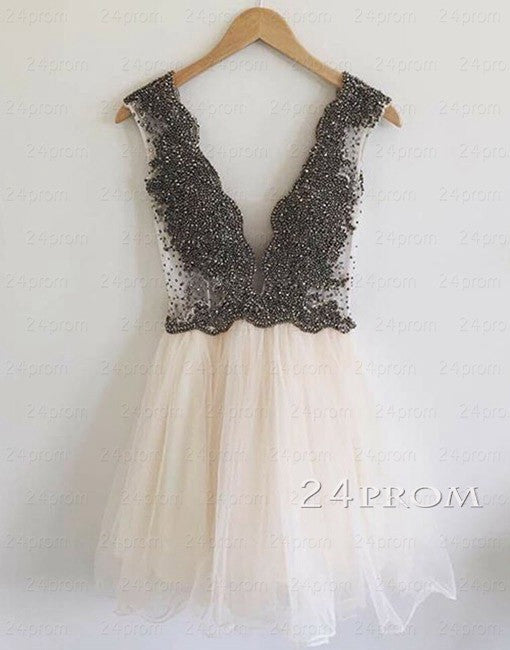 Custom Made Beaded Short Prom Dress, Homecoming Dress