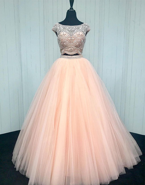 Pink two pieces sequin beads tulle long prom dress, pink evening dress