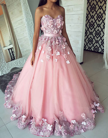 Pink sweetheart neck tulle lace applique long prom dress, pink evening dress