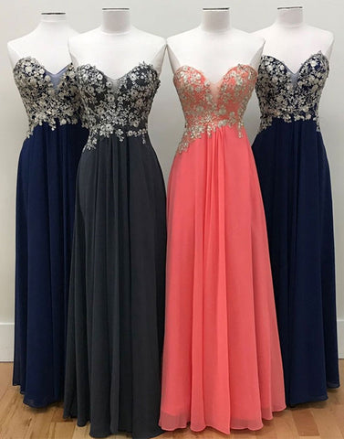 A-line sweetheart chiffon lace applique long prom dress, evening dress
