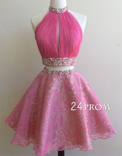 Custom made pink two pieces short prom dress, cute homecoming dress