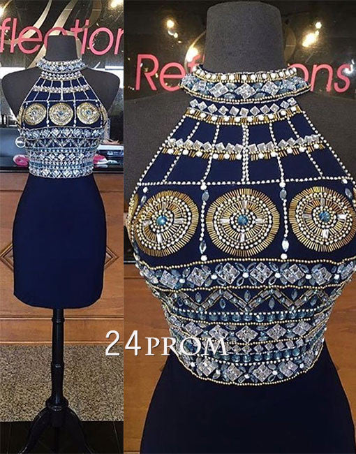 Custom made round neck beaded rhinestone short prom dress, homecoming dress