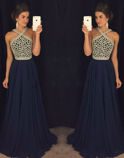 Dark Blue Bead Long Prom Dress Evening Dress Formal Dress Prom24