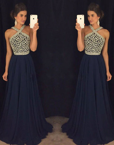 Dark blue bead long prom dress, evening dress, formal dress