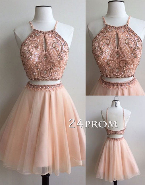 cb601d55e19 Unique round neck tulle sequin two pieces short prom dress