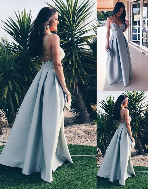 Simple sweetheart satin long prom dress, evening dress