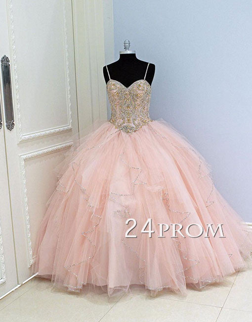 Custom made pink sequin tulle long prom gown,evening dress