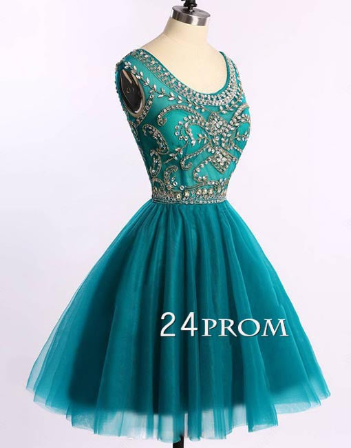 Green round neck tulle short prom dress, homecoming dress