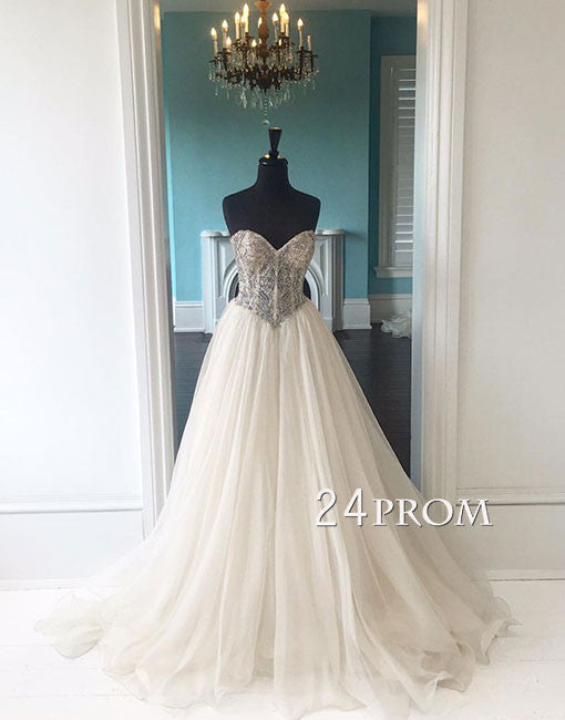 White sweetheart neck tulle sequin long prom gown,evening dress