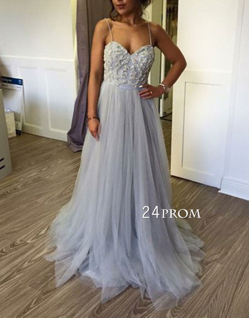 Custom made sweetheart tulle long prom dress, bridesmaid dress