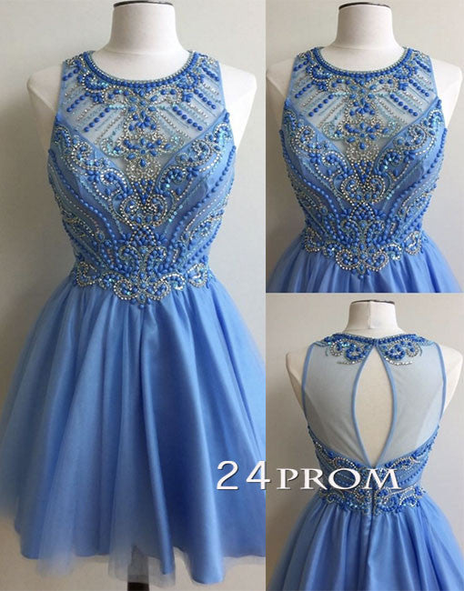 Blue tulle round neck short prom dress, cute homecoming dress